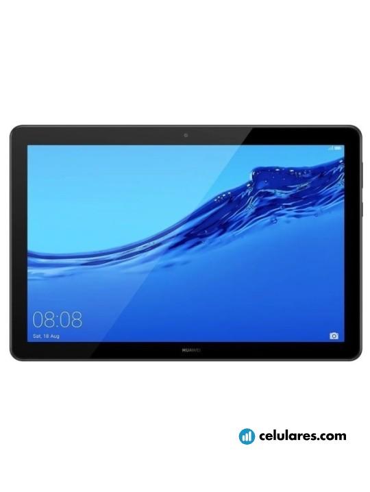 Fotografía grande Varias vistas del Tablet Huawei MediaPad T5 10 Dorado y Negro. En la pantalla se muestra Varias vistas