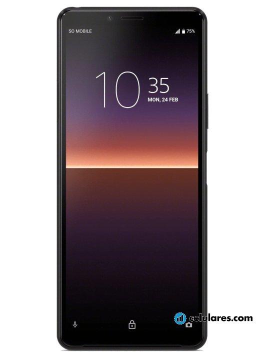 Fotografía grande Varias vistas del Sony Xperia 10 II Blanco y Negro. En la pantalla se muestra Varias vistas
